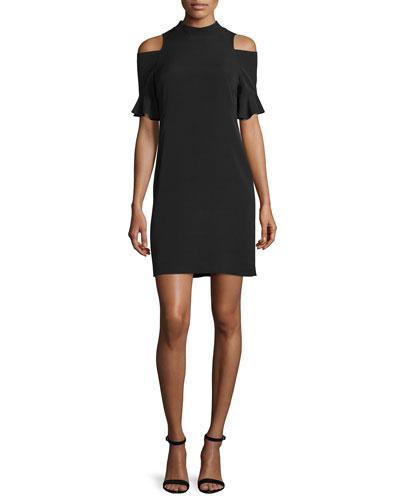 Cold-Shoulder Shift Dress, Black