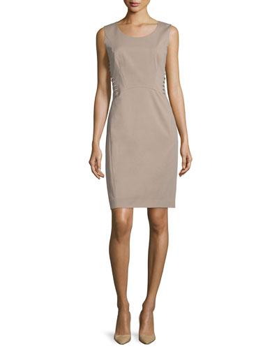 Vonnie Lace-Up Sheath Dress, Hickory