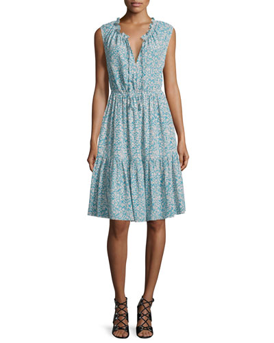 Sleeveless Split-Neck Tiered Dress, Turquoise/Combo