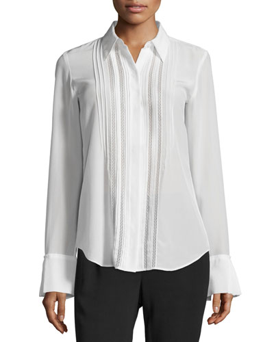 Alwinth Mosaic Pleat-Front Silk Top