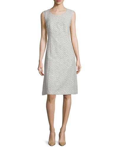 Sylvia Sleeveless Sheath Dress, Hickory/Multi