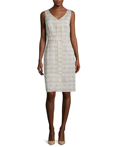 Farren Sleeveless Sheath Dress, Khaki/Multi