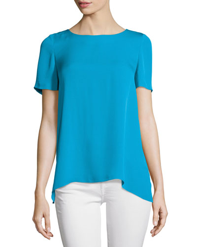 Maggy Short-Sleeve Silk Button-Back Top, Capri Blue