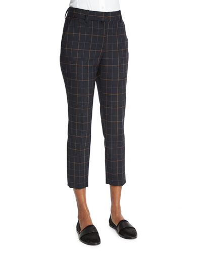 Treeca 2 Tile-Check Cropped Pants