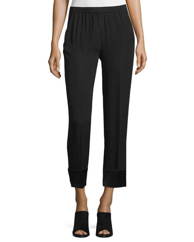 Slim-Leg Cropped Pants, Black