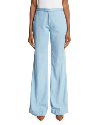 Katara Wide-Leg Chambray Pants, Light Indigo