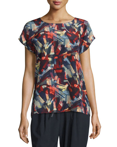 Nadette Short-Sleeve Abstract-Print Silk Blouse, Ink Multi