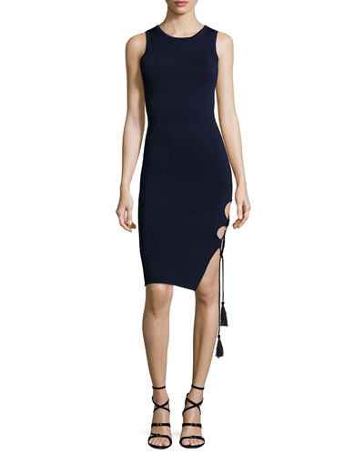 Sleeveless Lace-Up Sheath Dress, Navy