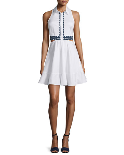 Contrast-Trim Oxford Shirtdress, White/Navy