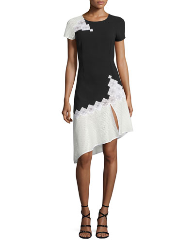 Diamond-Mesh Short-Sleeve Tee Dress, Black/White
