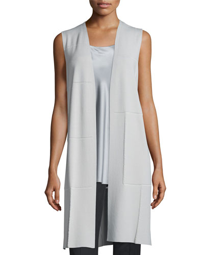Long Intarsia-Grid Vest, Sterling