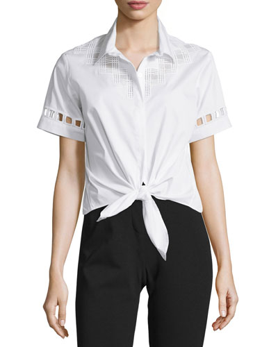 Embroidered Tie-Front Cropped Shirt