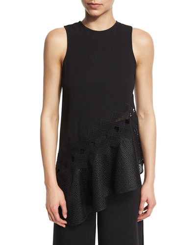 Sleeveless Mesh-Trim Crepe Top, Black