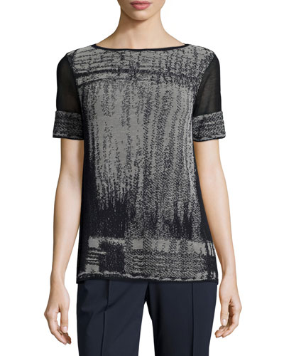 Short Mesh-Sleeve Brushed Jacquard Sweater, Ink Multi