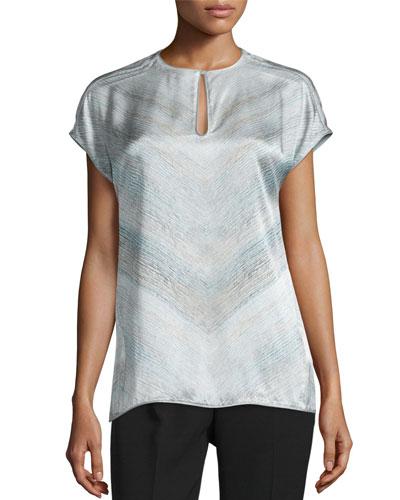 Zane Short-Sleeve Silk Chevron Blouse, Cloud Multi