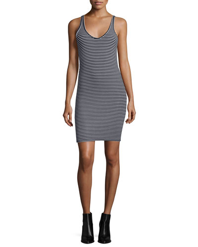 Striped Wrestler Tank Dress, Black/White