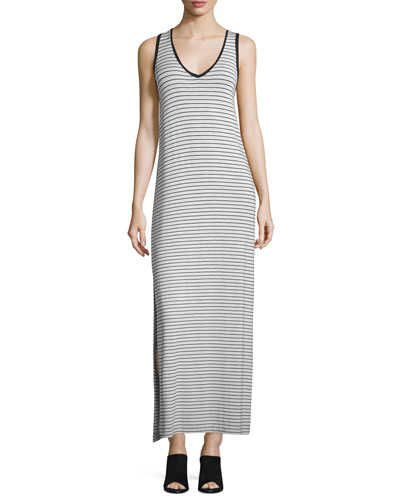 Striped Jersey V-Neck Maxi Dress, White/Black