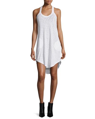 Y-Back Mini Jersey Dress, White