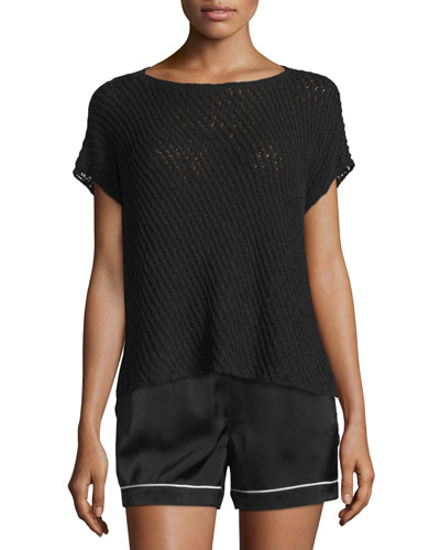 Short-Sleeve Netted Cotton-Blend Sweater, Black