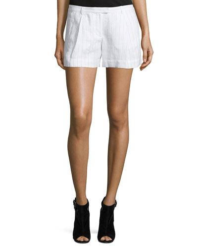 Striped Pleated Boyfriend Shorts, White