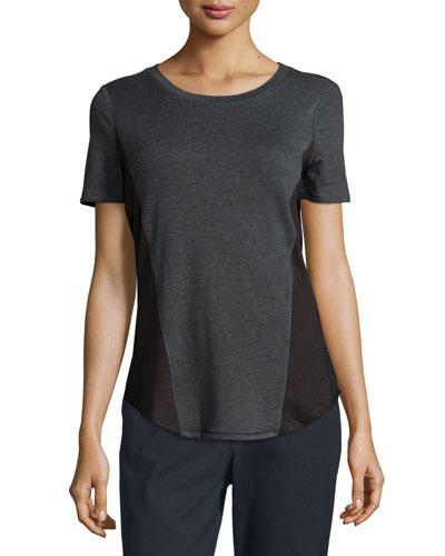 Mackenzie Short-Sleeve Melange-Knit Top