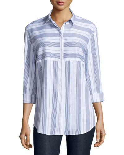 Sabira Long-Sleeve Striped Blouse, Ink Multi