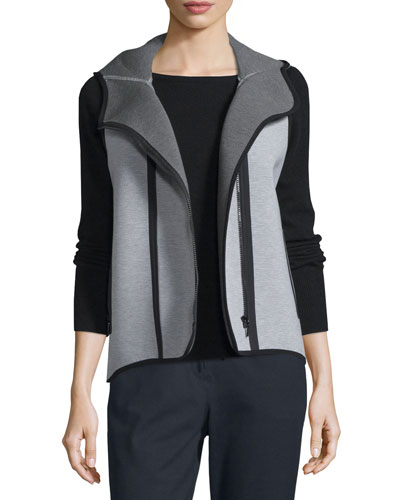 Margie Hooded Knit Vest, Light/Medium Gray
