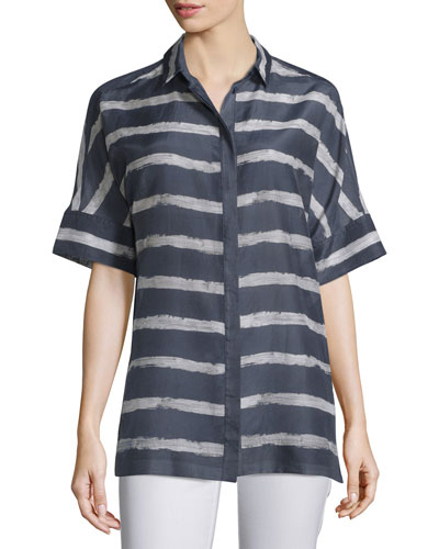 Andra Short-Sleeve Striped Blouse, Blue Note Multi