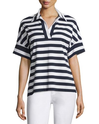 Striped Dolman-Sleeve Popover Top, Ink Multi