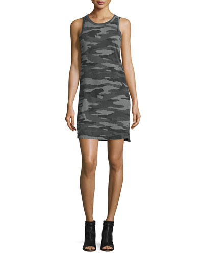 The Muscle Tee T-Shirt Dress, Distressed Black