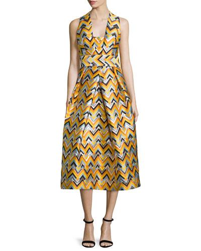 Sleeveless Square-Neck Chevron Mid Dress