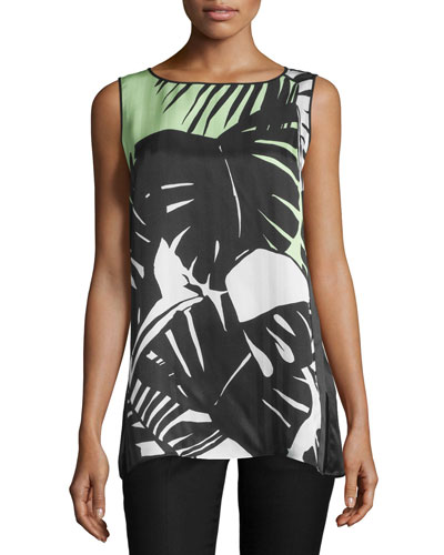 Merryn Sleeveless Printed-Front Blouse, Black/Multi