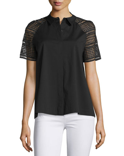 Ingrid Lace-Sleeve Button-Front Blouse, Black