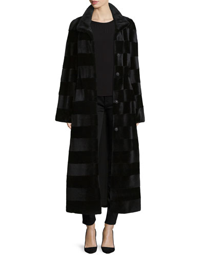 Horizontal-Striped Mink Fur Long Coat, Black