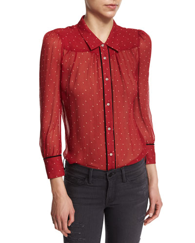 Peasant Polka Dot-Print Blouse, Crimson