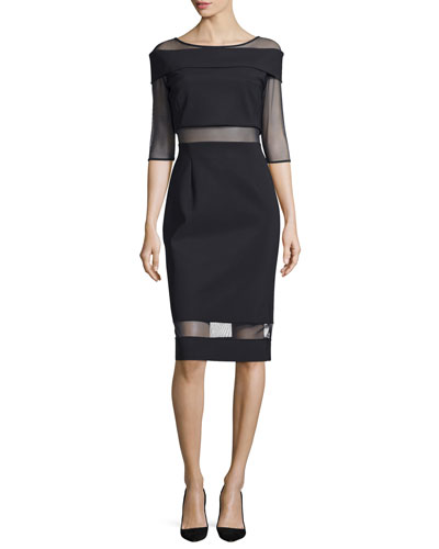 Cocotte Half-Sleeve Illusion Cocktail Dress