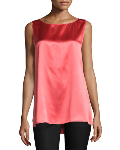 Rosie Sleeveless Round-Neck Blouse, Bellini