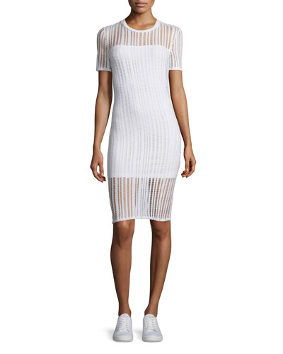 Short-Sleeve Jacquard Sheath Dress, White