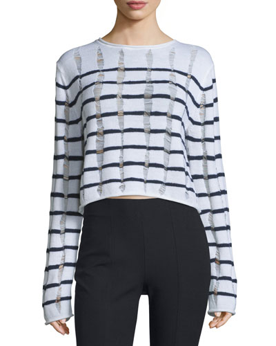 Distressed Striped Boxy Sweater, Ink/Ivory