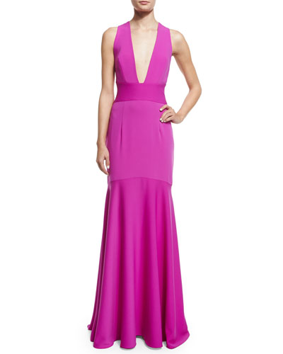 Sleeveless Crisscross-Back Mermaid Gown