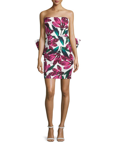Strapless Floral-Print Dress w/Oversized Bow, Fucshia
