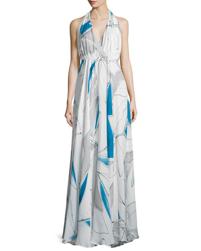 Abstract-Print Chiffon Halter Gown