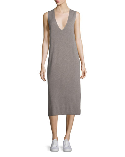 Sleeveless Half-Milano Midi Dress, Taupe
