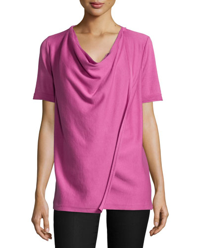 Short-Sleeve Draped-Front Cardigan, Camellia