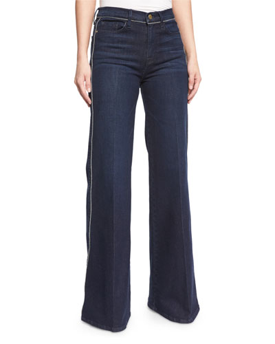 Le Capri Piping Wide-Leg Jeans, Shore
