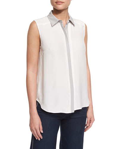 Classic Sleeveless Two-Tone Top, Blanc