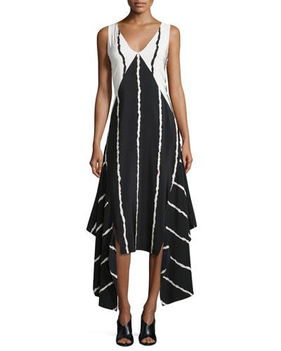 Sleeveless Striped Colorblock Midi Dress, Black