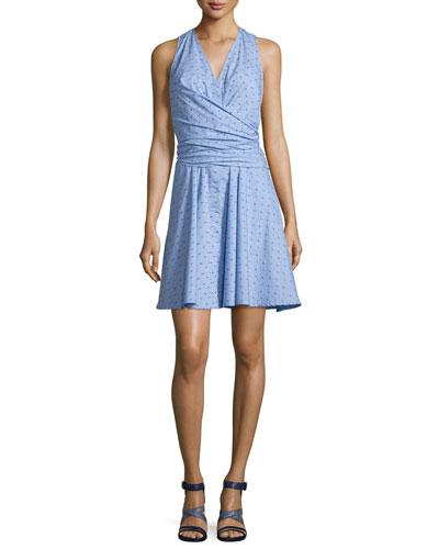 Sleeveless Tie-Back Poplin Dress, Blue