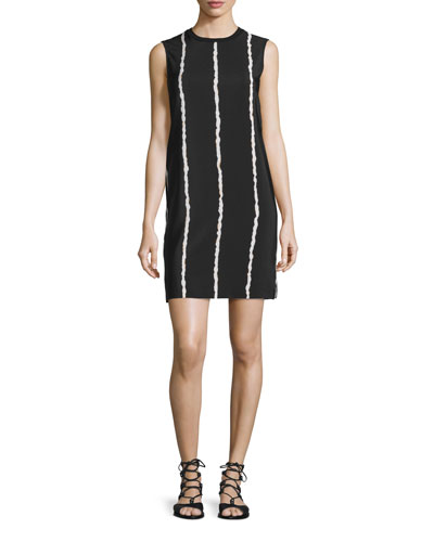 Sleeveless Striped Silk Shift Dress, Black/White