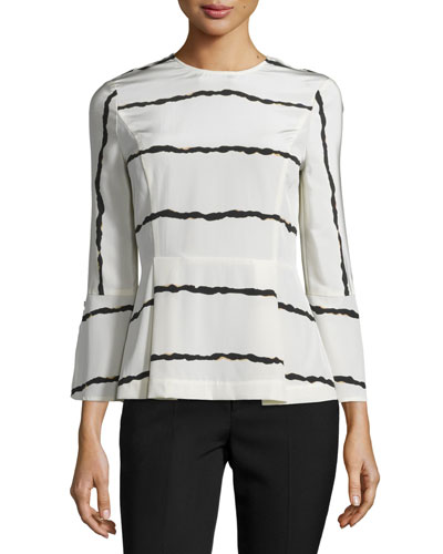 Striped Silk Bell-Sleeve Blouse, Soft White